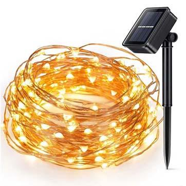 luce di stringa di filo di rame di energia solare